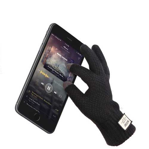iwinter Winter Autumn Men Knitted Cycling Gloves Touch Screen Male Thicken Warm Wool Cashmere Solid Gloves Business Mitten