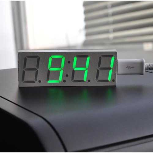 Electronic DIY 0.8inch Dot Matrix LED Digital Electronic Clock Kit Car Clock 5V Mciro USB Powered