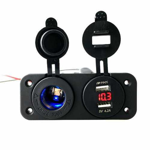 12-24V Dual Usb Car Charger Adapter + LED Volt Meterr + Cigarette Lighter Socket