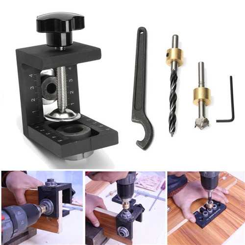 Wood Working Pocket Hole Locate Punch Jig Kit With Step Drilling Bit Wood Tools Set
