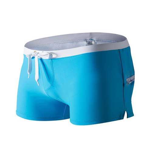 AUSTINBEM Back Zipper Pocket Summer Beach Surf Water Sports Shorts Boxers Swim Trunks for Men