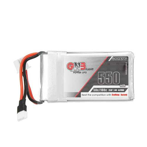 Gaoneng GNB 7.4V 550mAh 50C Lipo Battery White Plug