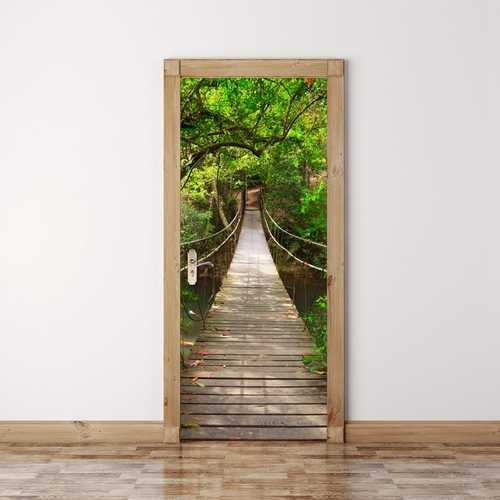 200X77CM 3D Wood Bridge PVC Self Adhesive Door Wall Sticker Living Room Mural Forest Bridge Decor