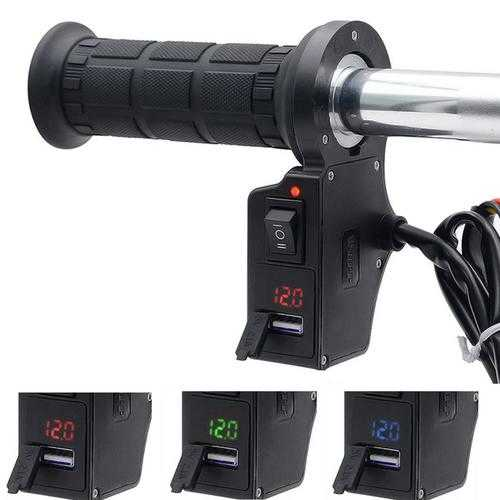 12V 7/8inch Motorcycle Handlebar Heated Grips with LED Volt Meterr USB Charger Hand Warmer