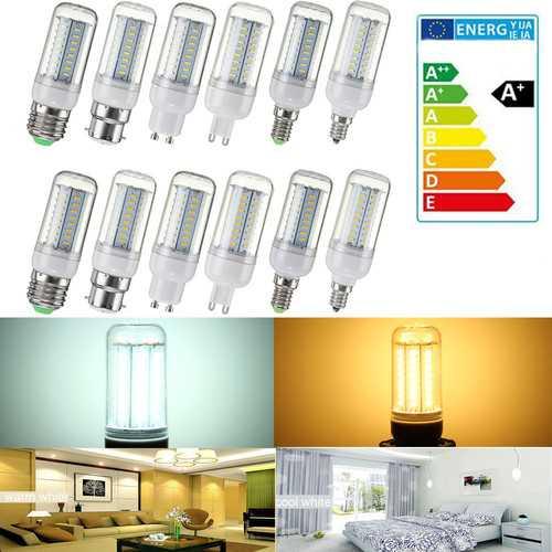 Dimmable AC110V SMD4014 5W 64LED Corn Bulb Light Lamp E27 E14 E12 B22 GU10 G9