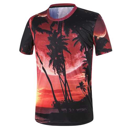 Mens Summer Coconut Beach 3D Painting T-Shirts O-neck Collar Short Sleeve Tees