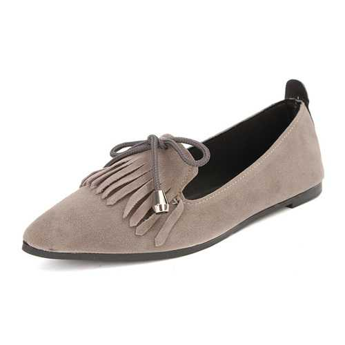 Bowknot Suede Pointed Toe Loafers Flat Tassels Pumps Shoes