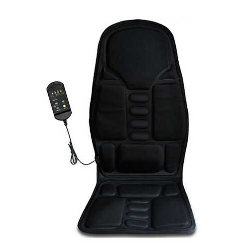 12V Car Household Heated Full Body Massage Seat Cushion Back Lumbar Pain Relief Vibration Massager