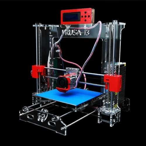 DIY Acrylic Reprap Prusa Pro B 3D Printer MK8 1.75mm Filament Support 0.2/0.3/0.4mm Nozzle