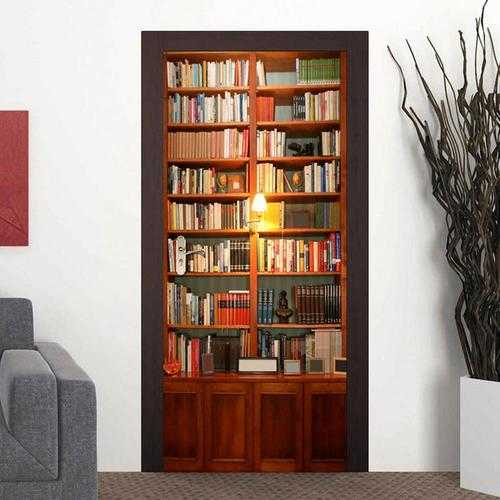 200X77CM 3D Retro Bookshelves PVC Self Adhesive Door Wall Sticker Living Room Mural Decor