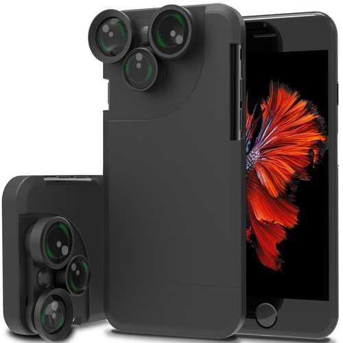 4 In 1 Wide Angle Fisheye Macro Telephoto 360° Rotation Camera Lens Kit Case For iPhone 7/7 Plus