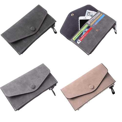 Clutch Long Purse Leather Wallet Case Phone Bag Card Solt Holder for iPhone Samsung Xiaomi Huawei
