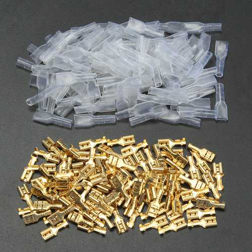 100pcs Copper 4.8mm Female Spade Crimp Terminals 22~16AWG