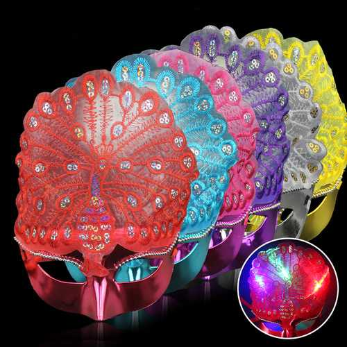Halloween Emitting Peacock Princess Mask Dance Parties Performances With Flash Decor Light