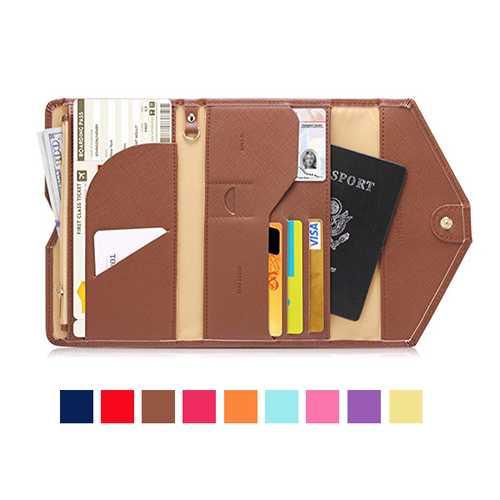 Honana HN-PB2 9 Colors Fashion Leather Travel Passport Holder Credit Card Tickets Organizer