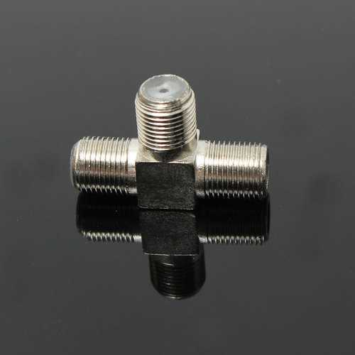 3Pcs Thread F Socket T Splitter Adaptor Cable TV Aerial Freeview Virgin Media Silver