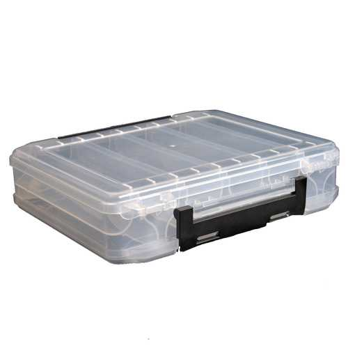 LEO Transparent Double Sides Fishing Lures Box PVC 10 Compartments Case