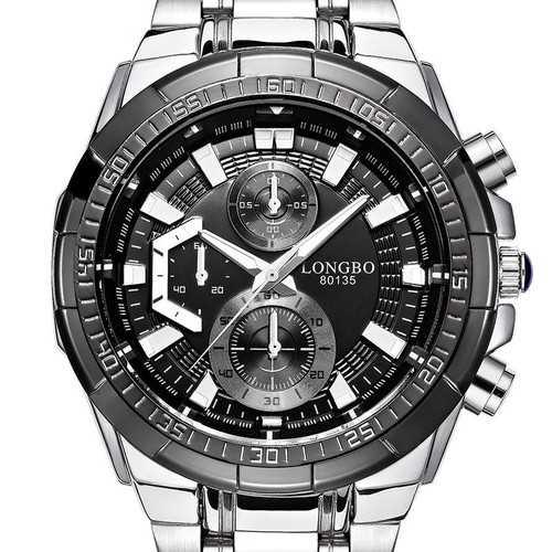 LONGBO 80135 Military Style Stainless Steel Men Quartz Watch