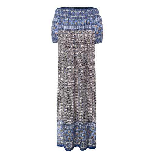 Bohemian Off Shoulder Half Sleeve Split Maxi Dress