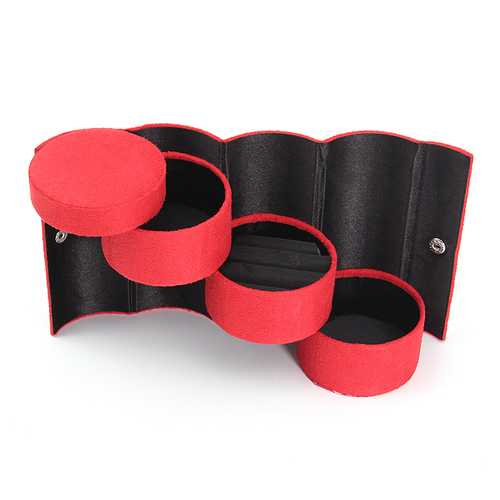 Vintage Velvet 3 Layers Round Jewelry Storage Gift Box For Earrings Ring Necklace