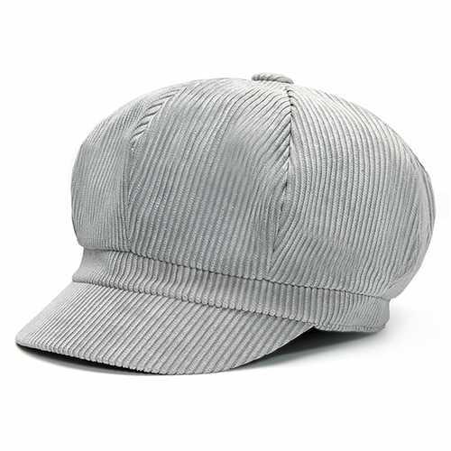Men Women Vintage Corduroy Octagonal Cap Thick Warm Painter Hat