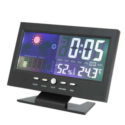 iMars™ Color LCD Screen Calendar Digital Clock Car Thermometer Weather Forecast Black