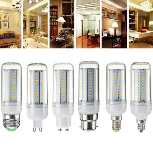 Dimmable E27 E14 E12 G9 GU10 B22 6W SMD4014 LED Corn Bulb Chandelier Light AC220V