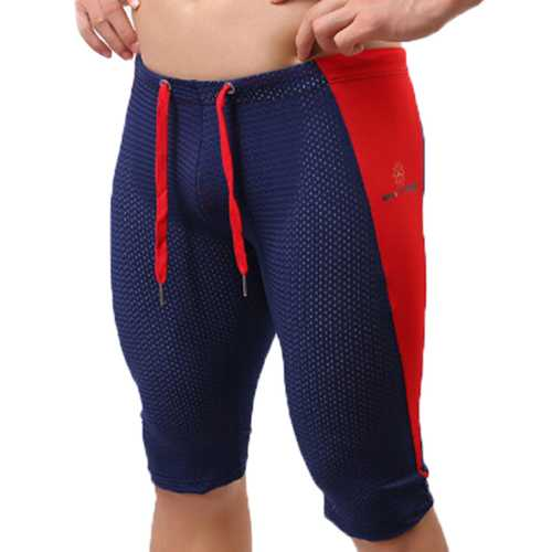 BRAVE PERSON Mens Sport Mesh Breathable Yoga Bottoms Knee Length Shorts Swimming Trunks