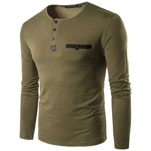Fashion Unique Pocket Men's T-shirts Casual O-neck Slim Fit Long Sleeved Tees