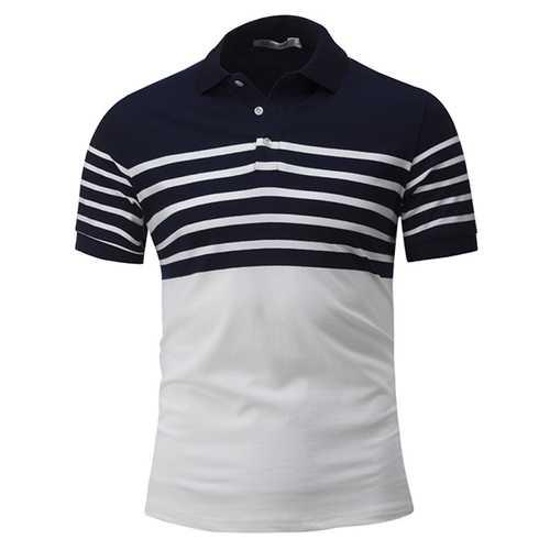 Men's Casual Concise Stripes Hit Color Lapel Short Sleeve T-shirt