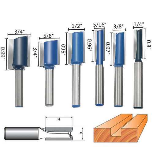 6pcs 1/4 Inch Shank Router Bit Set Wood Working Cutter