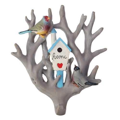 Bird Parrot Home Tree Seamless Wall Hook Hanger Home Decoration Ornament