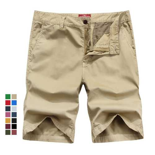 Summer Mens Cotton Cargo Shorts Casual Solid Color Knee Length Shorts