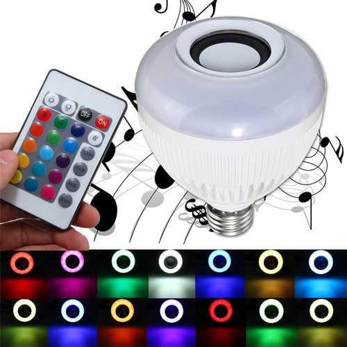E27 12W Wireless bluetooth Music RGBW LED Audio Speaker Bulb with 24 Keys IR Remote Control