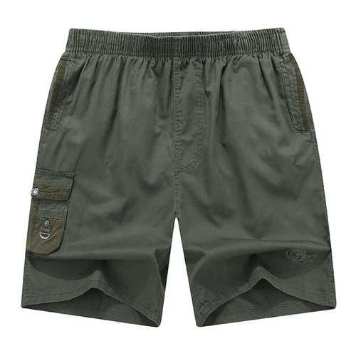Mens Summer Casual Elastic Waist Multi Pockets Shorts Solid Color Cotton Shorts