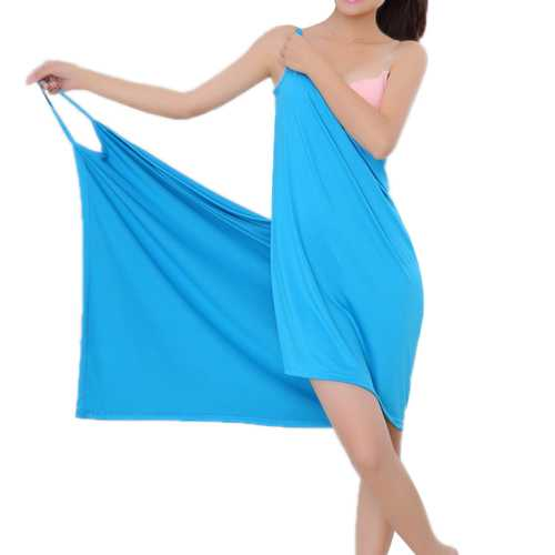 Honana BX-376 Summer Beach Soft Ice Silk Sexy Hot Able Wear Deep V Spa BathRobe Bath Towel Women Skirt