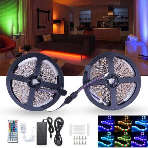 10M 600 LED Color Changing SMD3528 RGB LED Strip Tape Rope Light Kit + IR Controller + Adapter DC12V
