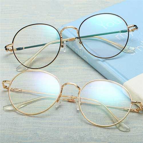 Unisex Ultralight Radiation Protection Eyeglasseess Round Oval Metal Rim Vintage Lens Glasses
