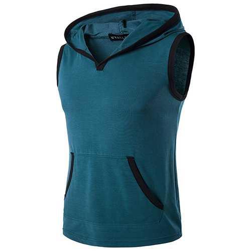 6 Colors M-2XL Summer Men's Hit Color Hooded Vest Loose Sleeveless T-shirt