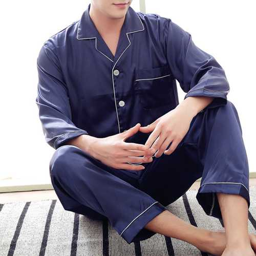 Mens Casual Solid Color Imitation Silk Soft Comfortable Sleepwear Home Clothing One Set