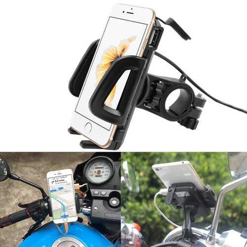 12-85V 5V 1.5A Motorcycle Handlebar Phone Navigation Holder USB Charger Universal