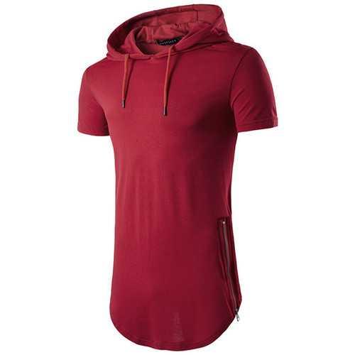 Mens Double Zipper High Street Hip-hop T-shirts Casual Short Sleeve Hooded T-shirt