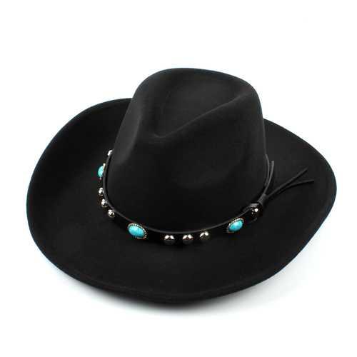Mens Women Vintage Woolen Western Cowboy Hat Wide Brim Cowgirl Jazz Cap Horse Riding Hat