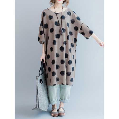 Brief Polka Dot Print Loose O-neck Half Sleeve Dresses