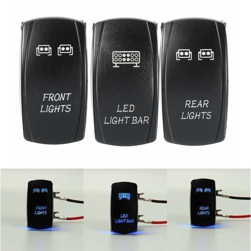 3Pcs 5-Pins Front & Rear Light LED Backlit Laser Push Rocker Switch