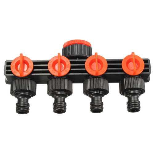 1/2 Inch 4 Way Splitter Garden Water Hose Tap Internal Thread Quick Connector