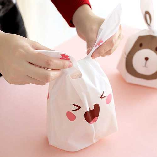 50 Pcs Rabbit Ear Cookie Bags Plastic Candy Biscuit Packaging Bag Wedding Party Supplies