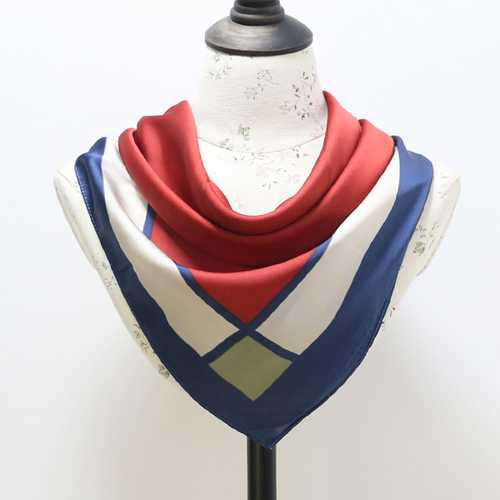 Fashion Vintage Geometric Silk Small Kerchief Women Shawl Spring Lattice Stripe Square Shawl Scarf