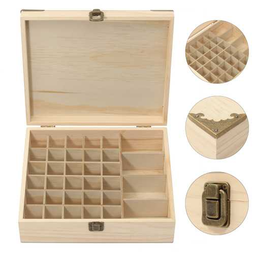 34 Grids Wooden Essential Oil Storage Container Box Case Perfume Essence Liquid Bottle Organizer