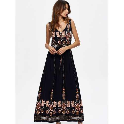 Bohemian Women Floral Printed Sleeveless V-Neck Hight Waist Maxi Dresses
